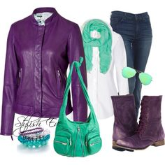 """Purple & Green Leather Casual"" by stylisheve on Polyvore"