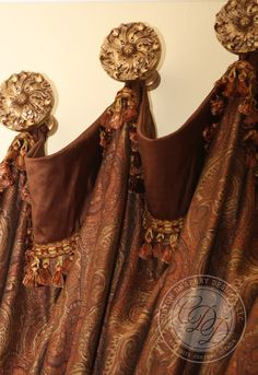 Custom Drapery Designs, LLC. - Trim, Hardware, Details Slouched, cuffed panels installed on medallions