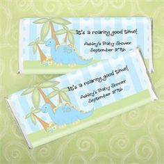 Baby Boy Dinosaur - Personalized Candy Bar Wrapper Baby Shower Favors