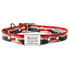 New! This collar is #patriotic and durable! Waterproof and smell resistant, plus stands up to extreme cold and heat. Personalized nameplate included. #USA