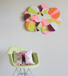DIY baby room :Geometric wall art is a creative way to a bit of colour to your baby's room.  Find how to make one :http://www.babydeco.co.uk/12-creative-diy-nursery-ideas/