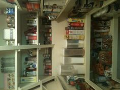 We added shelves to the back wall of  our walk- in  pantry . We were able to do this by adding the under the stairs drawer.