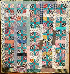 """Unused Vintage Feedsack Quilt, 74"""" X 76"""", backing is unbleached cotton sugar sack muslin,hand pieced and hand quilted in a primitive fashion with an overall Baptist fan pattern, 4 - 6 stitches per inch."""