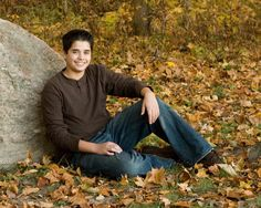 Teen Boy with rock as prop pose