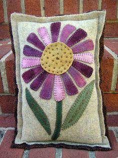 Purple Flower Wool Applique Pillow