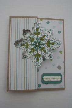 Snowflake card www.stampingwithlinda.com Check out my Stamp of the Month Kit Program Linda Bauwin – CARD-iologist Helping you create cards from the heart.