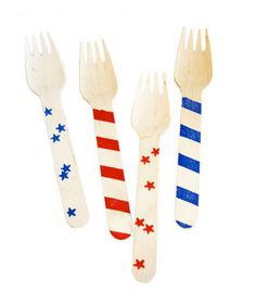 Stars and Stripes Wooden Forks from Shop Sweet Lulu