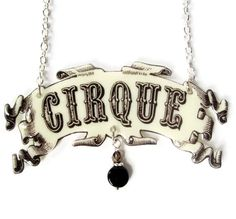 Circus Cirque Necklace Banner Tattoo Statement Jewelry Beige Black Trapeze Vintage Illustration Acrobat Carnival PT Barnum on Etsy, $27.00