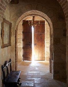 interior, rustic houses, arch, stone walls, front doors, bricks, stones, light, antique doors