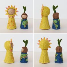 Perpetual felt calendar centerpiece from Tiny Fairy Worlds with turning upper part to start each month with day 1. Extra pieces cover days that are not needed in the given month. The Sun peg doll walks on the months, while the Earth peg doll shows the day. (Six extra pieces in a matchbox are included to make up for possible losses.)