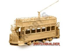 This Matchbuilder Tram Kit from Hobby's includes everything needed to make this matchstick model kit.  Included are all the pre-cut card formers along with the glue, matchticks and full instructions. These instructions will guide you through each stage of the construction until you finally achieve the finished product.  We would highly recommend this Matchbuilder Tram Kit.