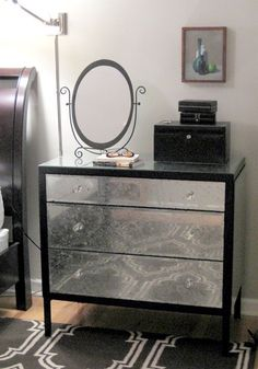 DIY Chic and Glamorous Dresser Renovation using aluminum foil
