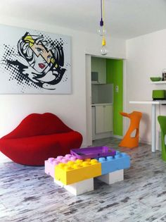 Lips. Lichtenstein. Legos. Like! I always wanted one of those couches!!!
