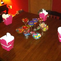 Great party game!  The girls loved it at my daughter's sleepover this weekend.  You buy several different kinds of candies and put them in bowls in the center of the table.  I used fruit slices, jellybeans (2 different kinds) gum balls, sour patch kids, skittles, twizzler bites, gummy bears, and gummy worms.  I put the names of all the candies in a bowl and they would draw a candy name and the roll 2 dice to see how many they got to get to put in their box.  They were dying to know who got th...