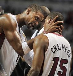 Miami Heat forward Chris Bosh has a word for teammate Mario Chalmers after he missed a defensive assignment during the fourth quarter in Game 3 of the NBA Finals at the AmericanAirlines Arena in Miami, Florida on Sunday, June 17, 2012.  (Michael Laughlin, Sun Sentinel)