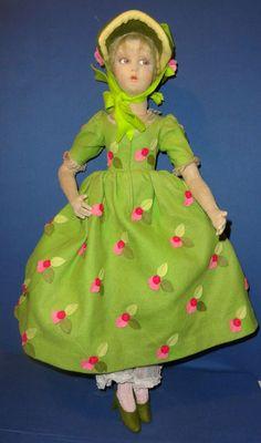 Lenci Bed Boudoir Doll in Green Floral Dress from sarabernsteindolls on Ruby Lane
