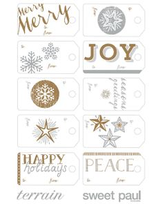 Free Printable Holiday Gift Tags from Sweet Paul