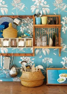 kitchens, open shelves, kitchen storage, swedish interiors, blue, kitchen dream, hous, wallpap, place