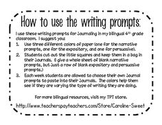 This file contains 20 Narrative, 20 Expository, and 20 Persuasive Writing prompts in both English and Spanish.  It also includes several prompts fo...