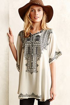 embroidered silk tunic - awesome as a beach cover up or with leggings and boots for fall! #anthrofave