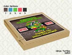 Teenage Mutant Ninja Turtles Pizza Box Label- Ninja Turtles Birthday Party - TMNT printable pizza box topper (8x8). $7.00, via Etsy.