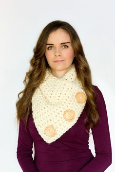 Basic Chunky Button Scarf Crochet Pattern