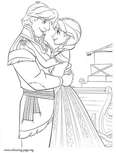 What about have fun with this amazing Disney Frozen coloring page? In this picture, beautiful princess Anna and Kristoff are hugging each other. Just print it!
