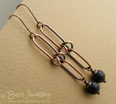 Long antiqued copper alternating chain link earrings by BooJewels,