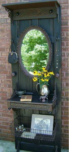 salvaged wood, salvaged doors, old houses, wire baskets, hall trees, old doors, door projects, wood doors, vintage doors