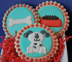 Dog, Dog Bone & Dog Food Decorated Sugar Cookies (12)