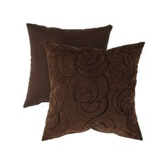 Pillow Perfect Decorative Velvet Swirls Square Toss Pillow, brown $19.99
