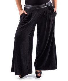 Look at this #zulilyfind! Black Faux Leather-Waist Palazzo Pants - Plus #zulilyfinds