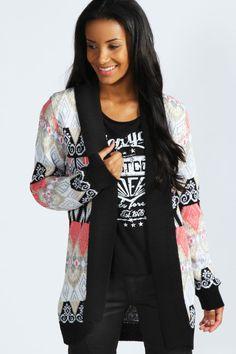 Alyssa Patterned Shawl Cardigan at boohoo.com style, cloth, canada, alyssa pattern, shawl cardigan, pattern shawl, boohoocom, misc fashion