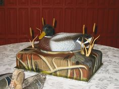 Hunting Duck With Chapel Sign Bride And Groom Wedding Cake Topper