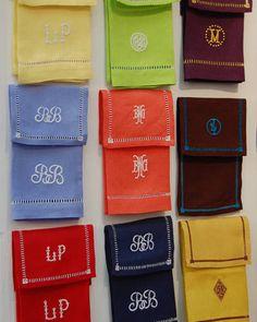 Colorful monogrammed napkins