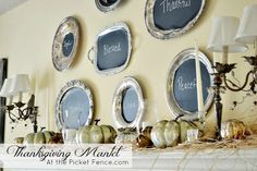 This Thanksgiving Mantel comes together easily with peel-and-stick chalkboard paper attached to vintage silver platters. A simple way to express your thanks.
