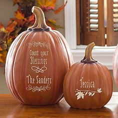 """These Personalized Decorative Pumpkins are the cutest Fall Decor I've seen! Love the """"Count Your Blessings"""" design! These would make a BEAUTIFUL Thanksgiving centerpiece! They'd look great at the front door, too!"""