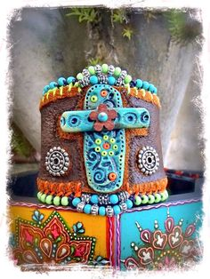 Native CROSS CUFF leather BRACELET Turquoise Cross by GPyoga