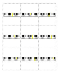 Piano key flash cards. Learn notes on the keyboard with these printable cards. Download the PDF files at http://musicflashcards.org/flashcards/instruments/piano/