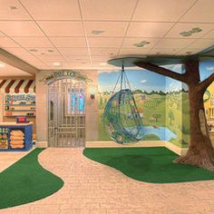 basement designs, kid playroom, playroom design, toy rooms, kids area, painted trees, chair swing, basement playroom, kids play rooms