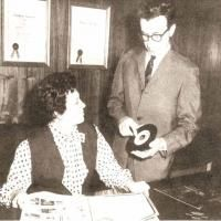 Estelle Axton and Jim Stewart, brother and sister who were the founders of Satellite Records in 1957, which Jim later renamed Stax by combining the first 2 letters of his last name and the first 2 letters of his sister's last name.