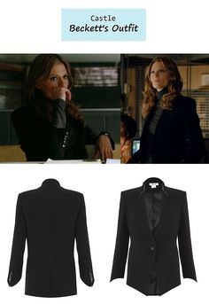 "On the blog: Kate Beckett's (Stana Katic) black blazer | Castle - ""Limelight"" (613) #tvstyle #tvfashion #outfits #fashion #stylishcop"