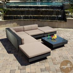 From Overstock.com, Christopher Knight Home Santorini Outdoor Six Piece Black Wicker Sofa Set.
