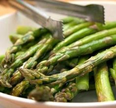 """Roasted Asparagus: """"I love asparagus cooked this way. I find it easier to put the asparagus in a bowl to toss with the oil. Sometimes I sprinkle with Parmesan as soon as it comes out of the oven."""" -MEAN CHEF"""