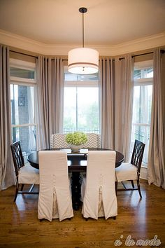 Curtains in a bay window