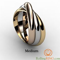 14K Solid Gold Tricolor Rolling Ring - IN STOCK! FREE SHIPPING!
