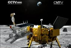 An artist's depiction of China's Yutu rover being deployed on the moon by the Chang'e 3 lunar lander is shown in this still image from a state-run CNTV TV broadcast. Chang'e 3 landed on the moon on Dec. 14, 2013.Chang'e 3 delivered the Yutu rover to the moon with its successful landing. (Credit: CNTV)