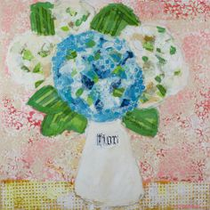 Fiori On Coral 36x36  Mixed Media Atelier Galleries  843-722-5668