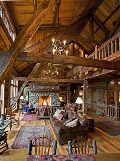 Rustic log and timber frame vacation home.