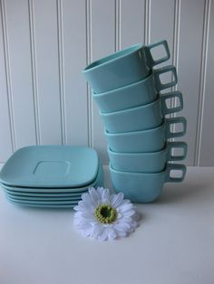 Vintage Brookpark Melmac Aqua Retro 50's Teacups & by jenscloset, $29.50 cute